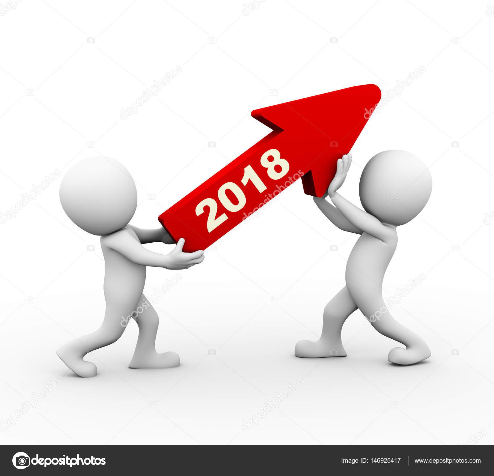 3d People Holding Upward 2018 Arrow — Stock Photo ...