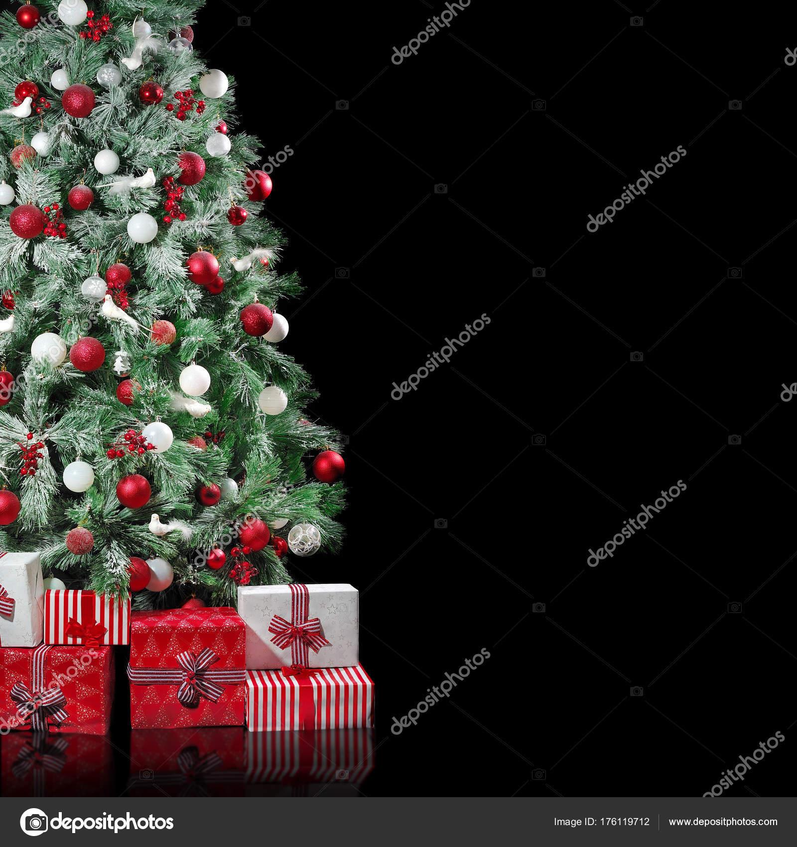 Big Christmas Tree Red White Decorations Presents Boxes Isolated Black Stock Photo Image By C Iagodina 176119712