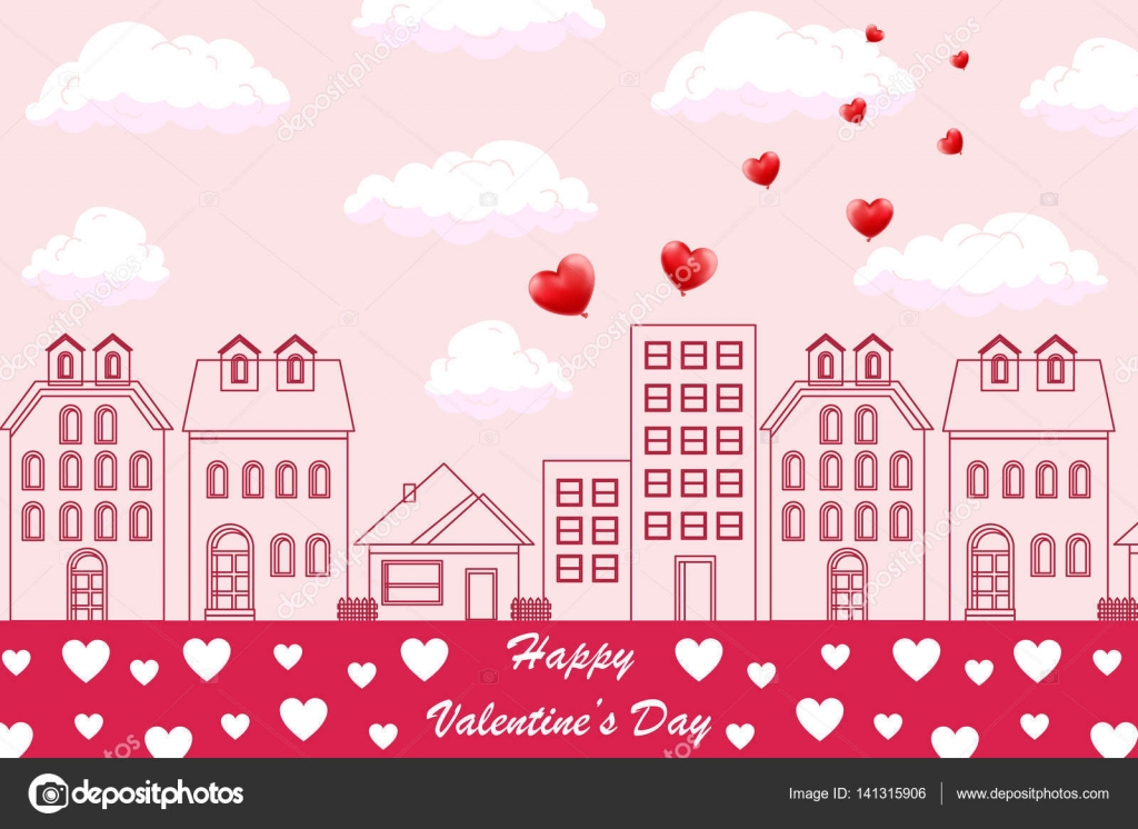 Valentines day background with cityscape, balloons heart and ...