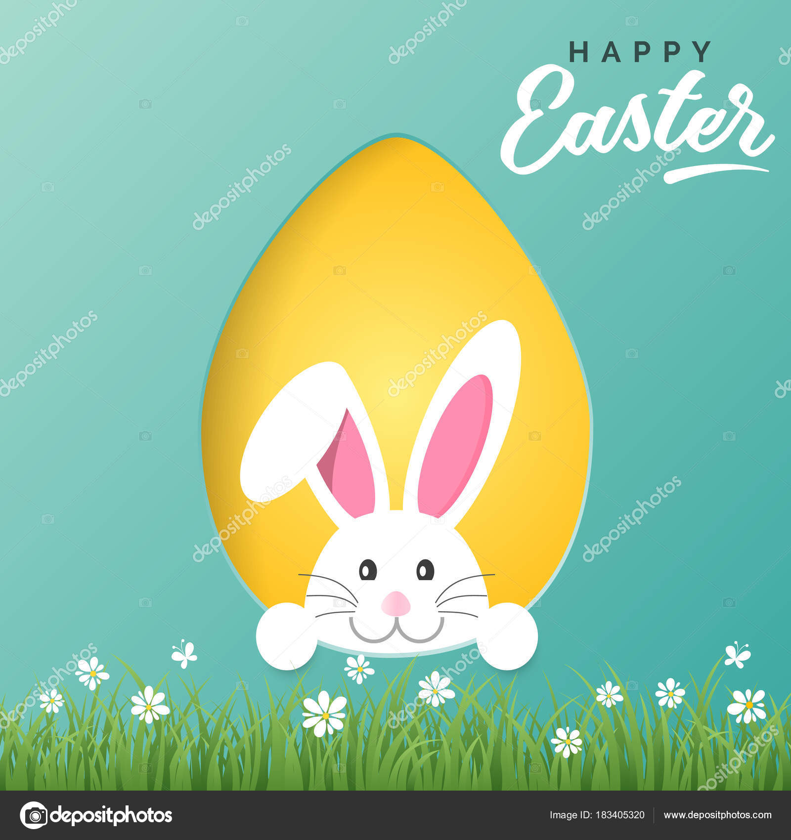 Vector happy easter greeting card with easter bunny and colored vector happy easter greeting card with easter bunny and colored paper egg stock vector m4hsunfo