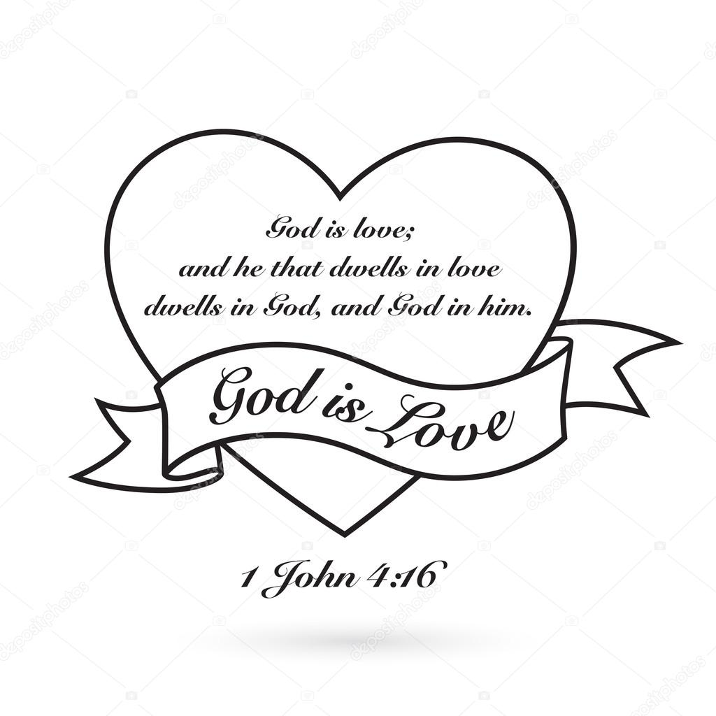 God Is Love With Heart And Banner Vector Design Stock Vector
