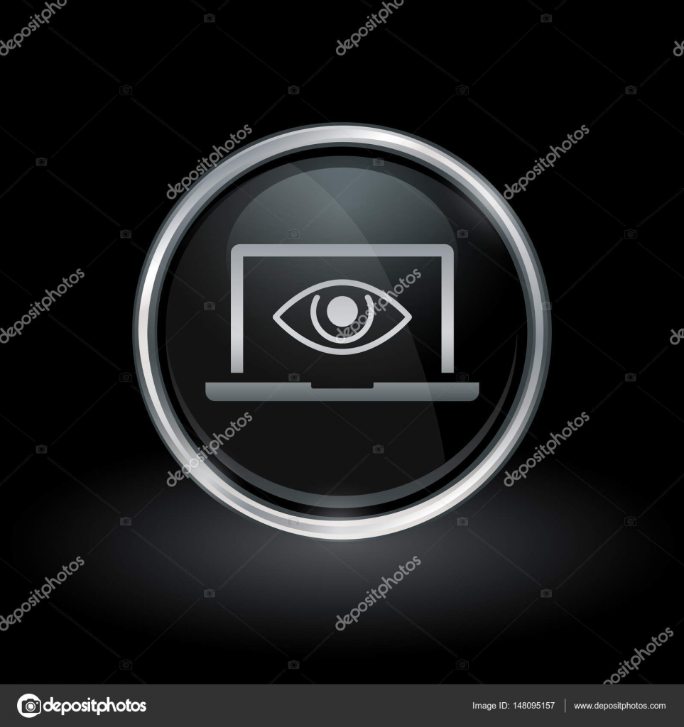 b2f038c90 Símbolo de privacidad Notebook con icono de espía portátil ojo interior  redondo cromo emblema de botón negro y plateado sobre fondo negro.