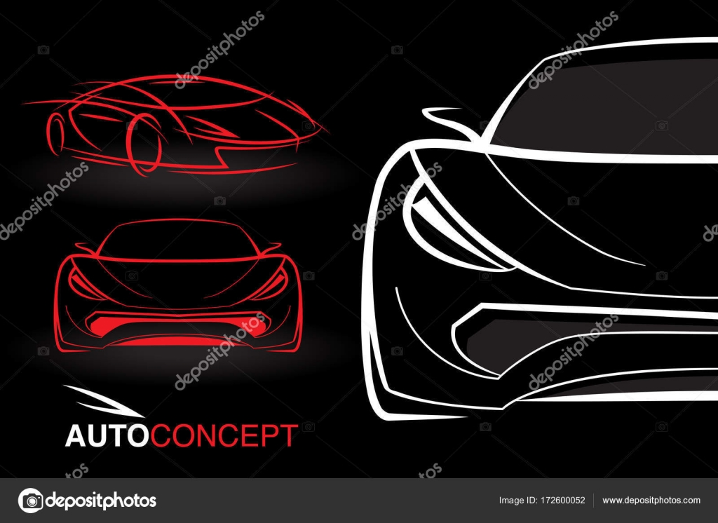 Abstract Auto Concept Vehicle Designs With Model Style Sketch Outline Of A  White And Red Futuristic Sports Cars On Black Background. Vector  Illustration.