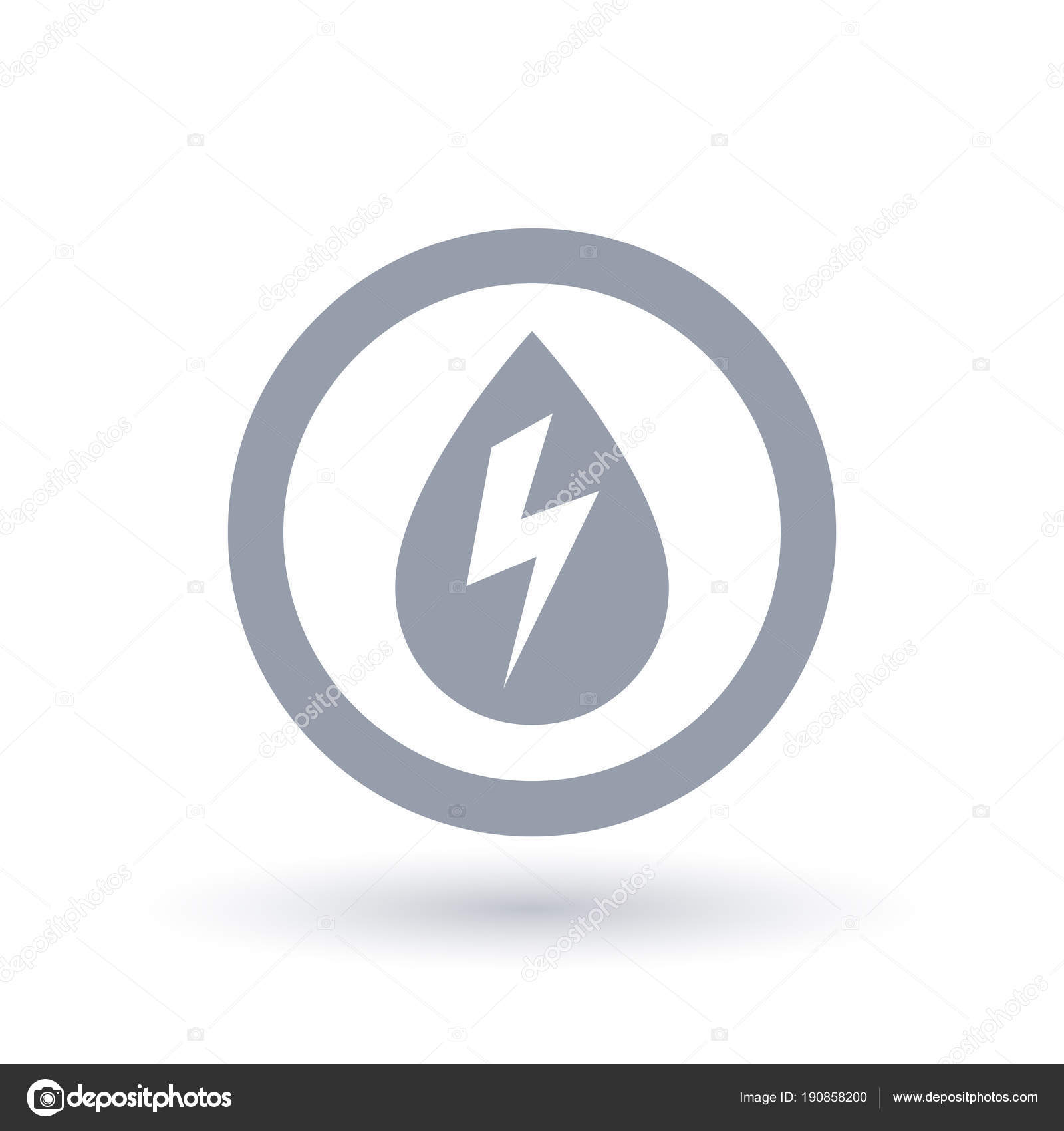 Hydro electricity icon. Water drop with energy bolt symbol. — Stock ...