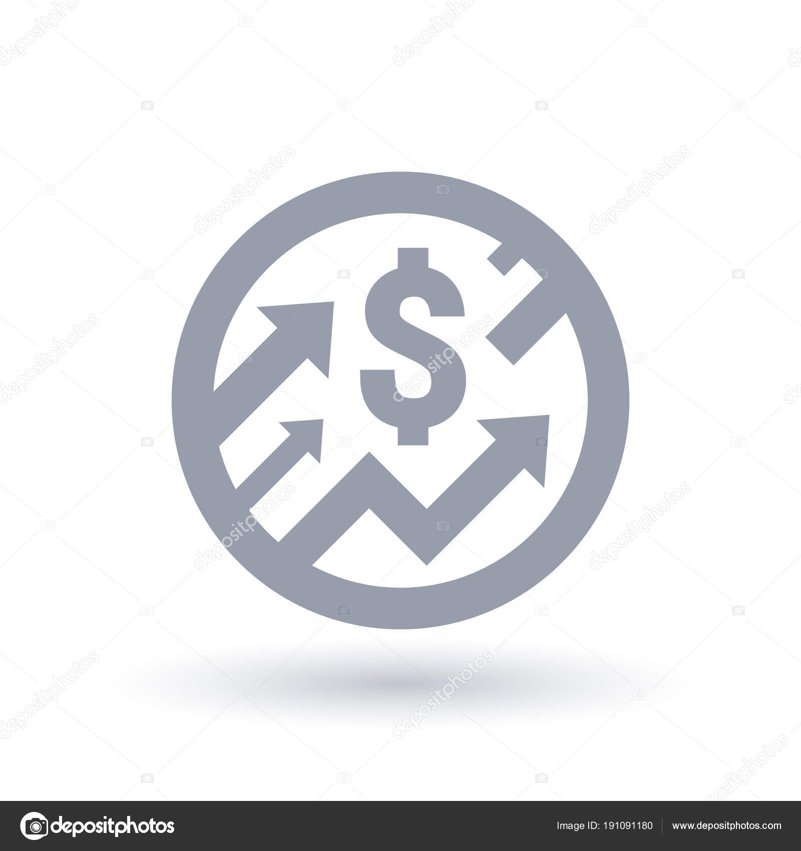 Dollar sign with arrows up concept icon  Economic growth symbol