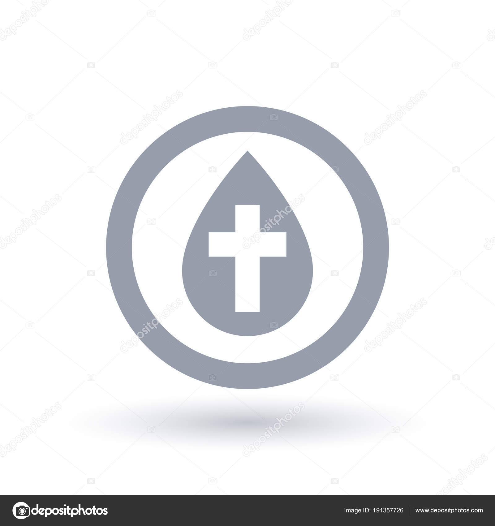 Water Drop With Cross Symbol Baptism Icon Baptise Sign Stock