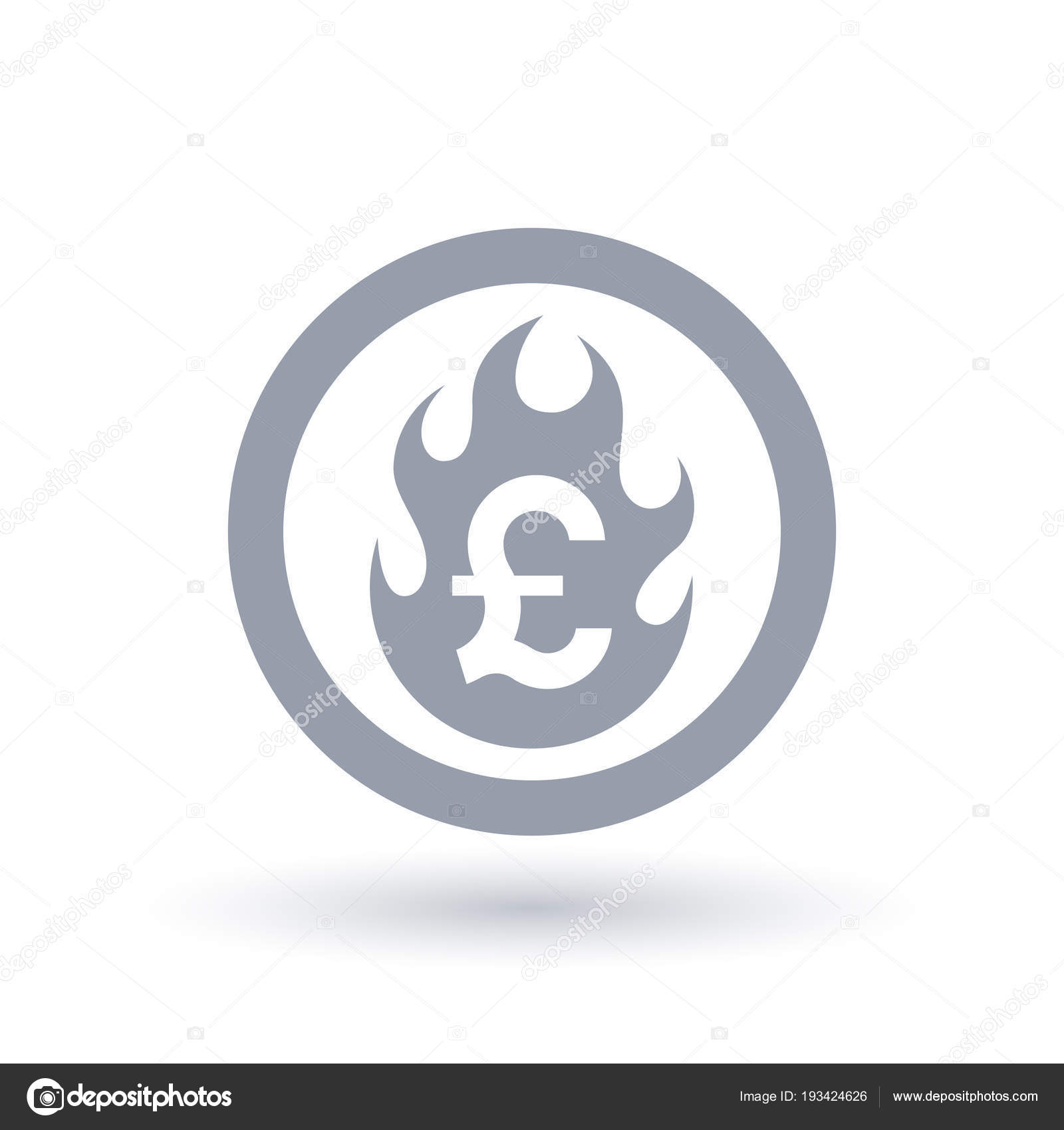 Pound Flame Icon Fire Burning British Currency Symbol Stock