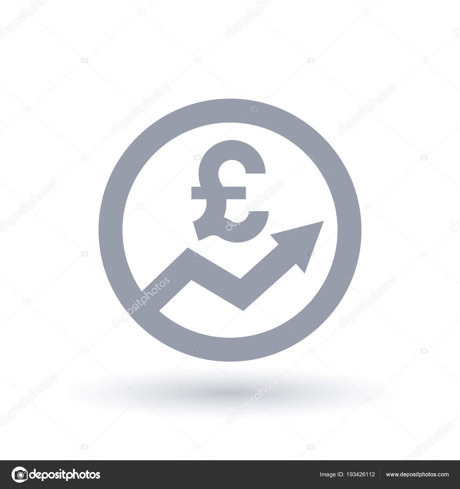 British Pound Arrow Icon Great Britain Currency Progress Symbol