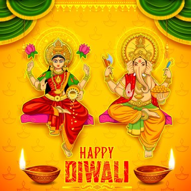 Goddess Lakshmi and Lord Ganesha on happy Diwali Holiday doodle background for light festival of India