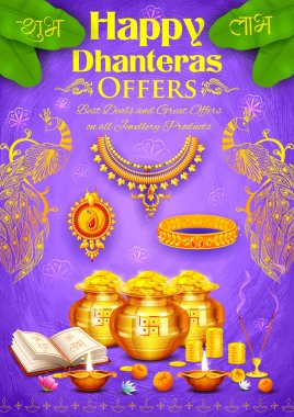 Golden diya with pot of god coin on Happy Diwali Dhanteras background