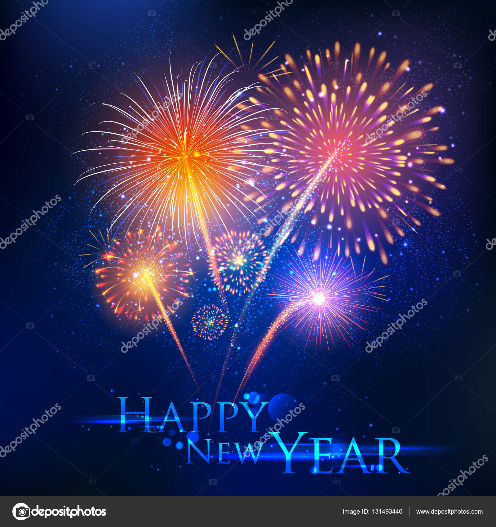 happy new year celebration abstract starburst seasons greetings background with firework stock vector