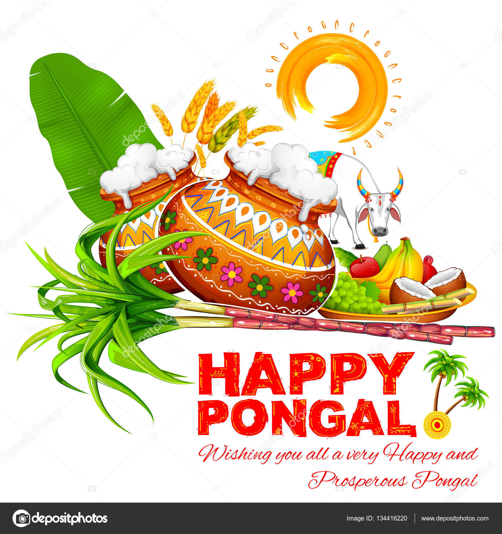 Happy pongal greeting background stock vector vectomart 134416220 happy pongal greeting background stock vector m4hsunfo