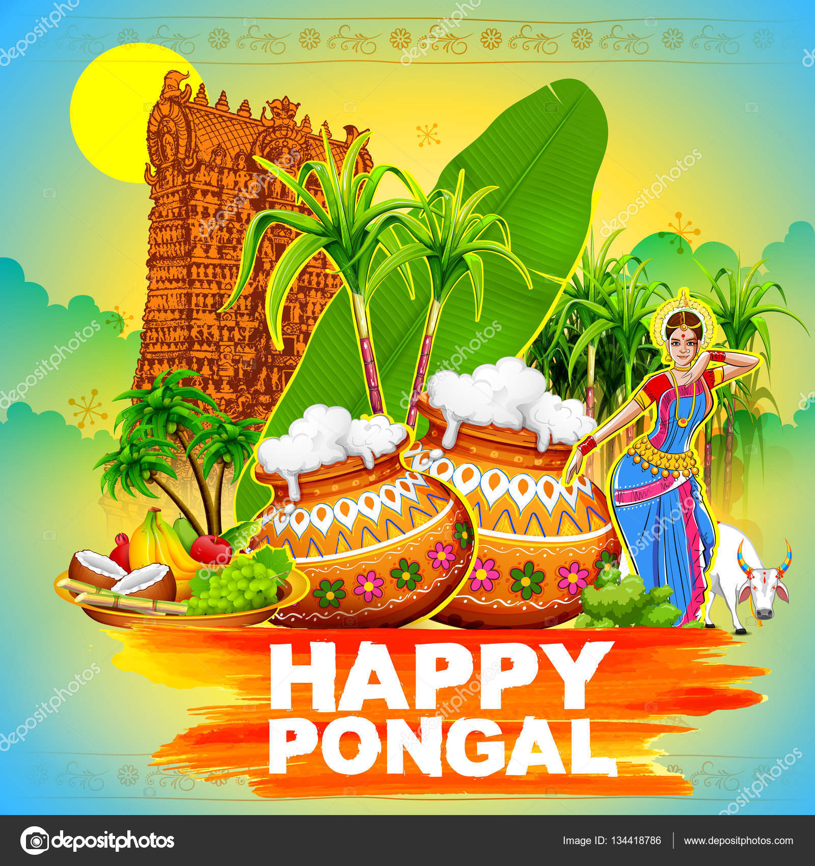 Happy pongal greeting background stock vector vectomart 134418786 happy pongal greeting background stock vector m4hsunfo