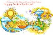 Makar Sankranti tapety s barevnými kite festival Indie