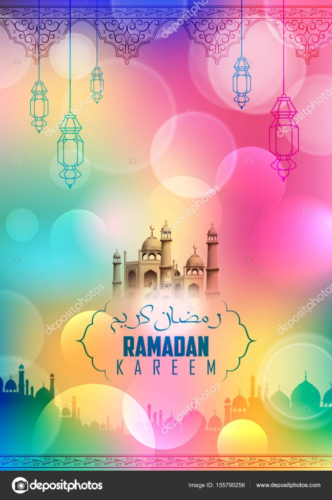 Ramadan kareem generous ramadan greetings in arabic freehand with ramadan kareem generous ramadan greetings in arabic freehand with mosque stock vector m4hsunfo