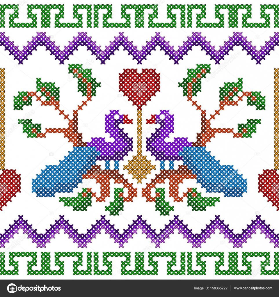 Cruz diseño de pavo real bordado de la puntada para textura de ...