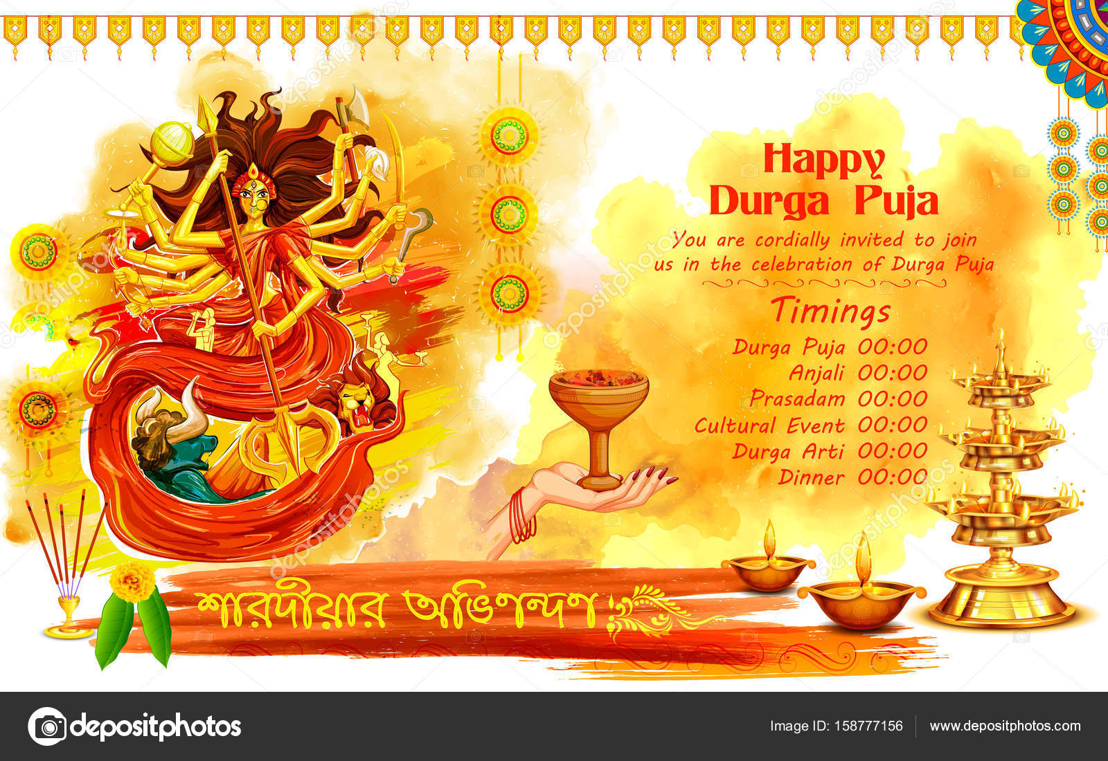 Goddess durga in happy dussehra background with bengali text goddess durga in happy dussehra background with bengali text sharodiya abhinandan meaning autumn greetings stock stopboris Choice Image