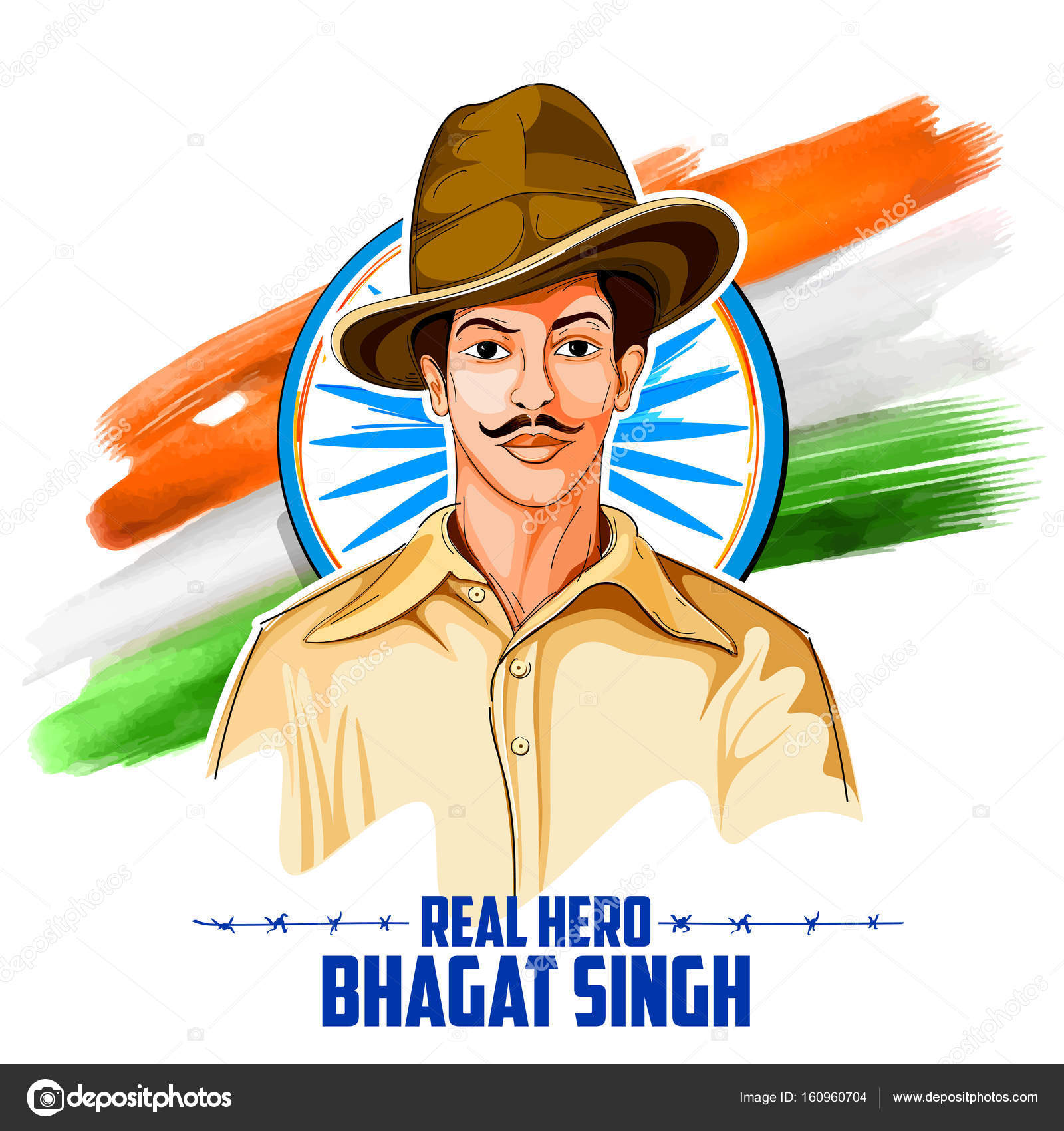 Tricolor india background with nation hero and freedom fighter tricolor india background with nation hero and freedom fighter bhagat singh for independence day stock thecheapjerseys Gallery