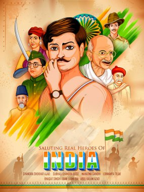 Tricolor India background with Nation Hero and Freedom Fighter for Independence Day