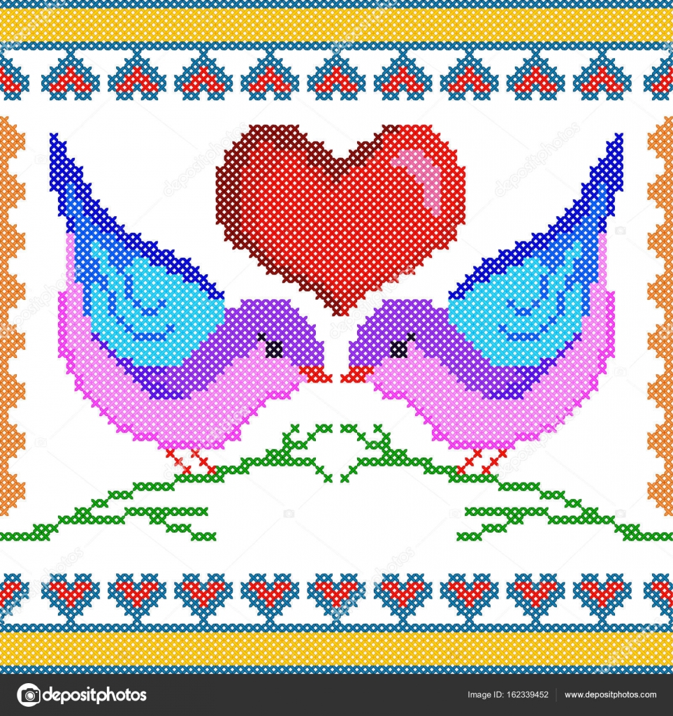 Cruz love bird diseño de bordado de la puntada para textura de ...