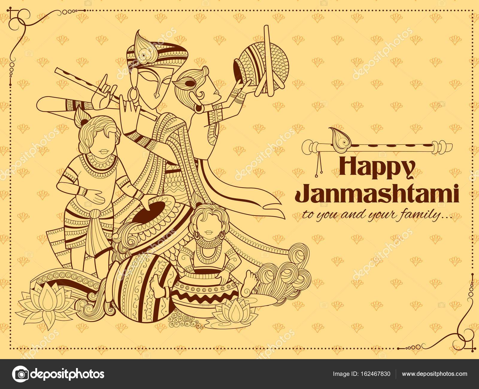 Señor Krishna con texto Hindi significa festival de Janmashtami ...