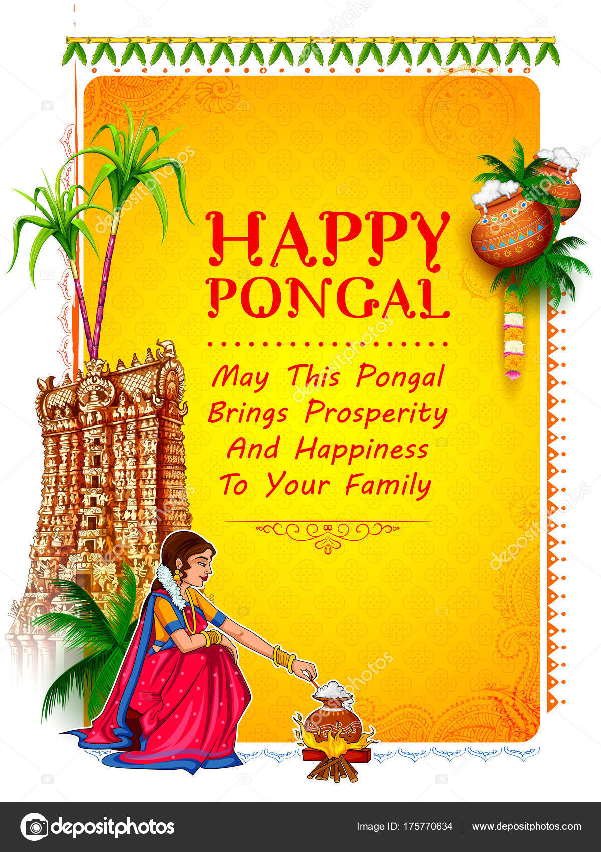 Happy pongal holiday harvest festival of tamil nadu south india happy pongal holiday harvest festival of tamil nadu south india greeting background stock vector kristyandbryce Images