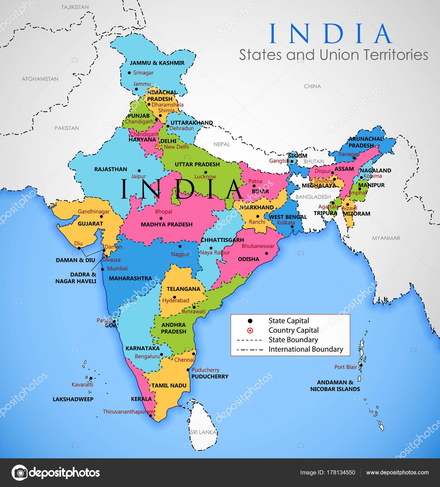 Mapa detallado de India, Asia con todos los Estados y límites del ...