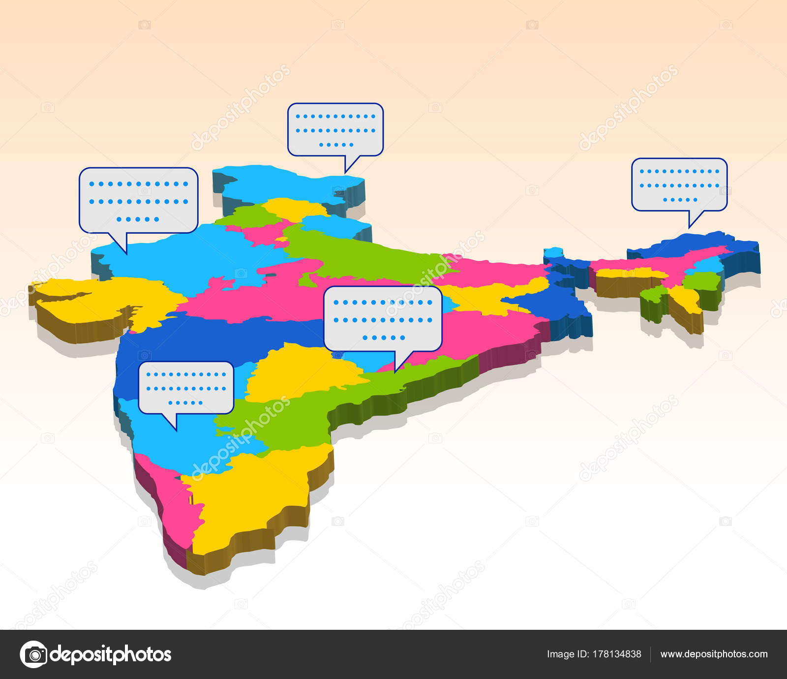 Map Of Asia 3d.Detailed 3d Map Of India Asia With All States And Country Boundary