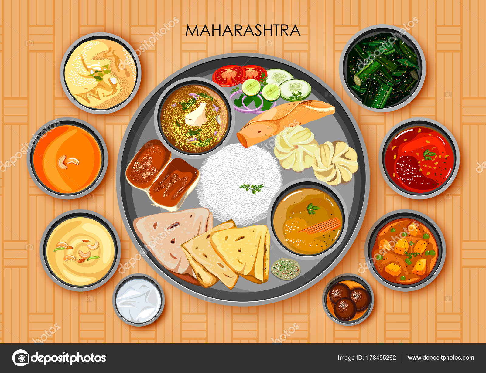 Cuisine Illustration traditional maharashtrian cuisine and food meal thali of maharashtra