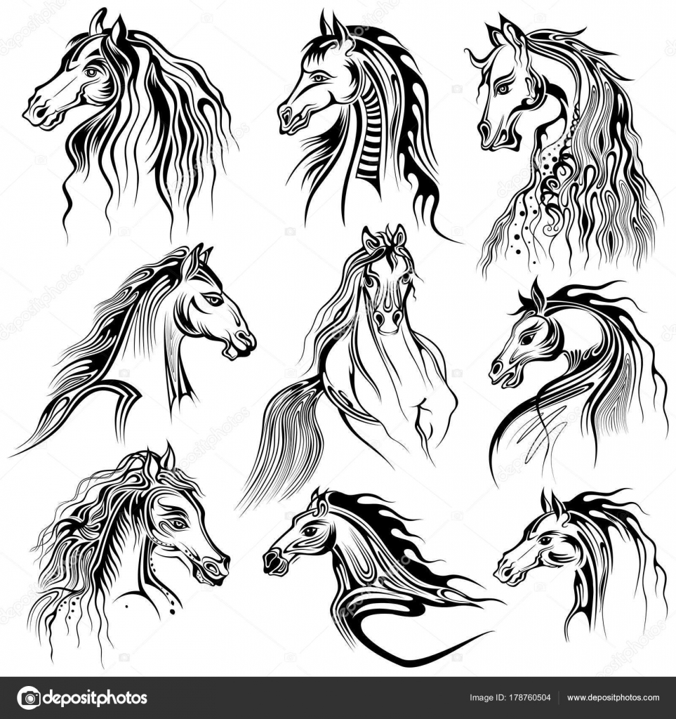 Drawings Horse Tattoo Design Tattoo Art Design Of Horse Collection Stock Vector C Vectomart 178760504