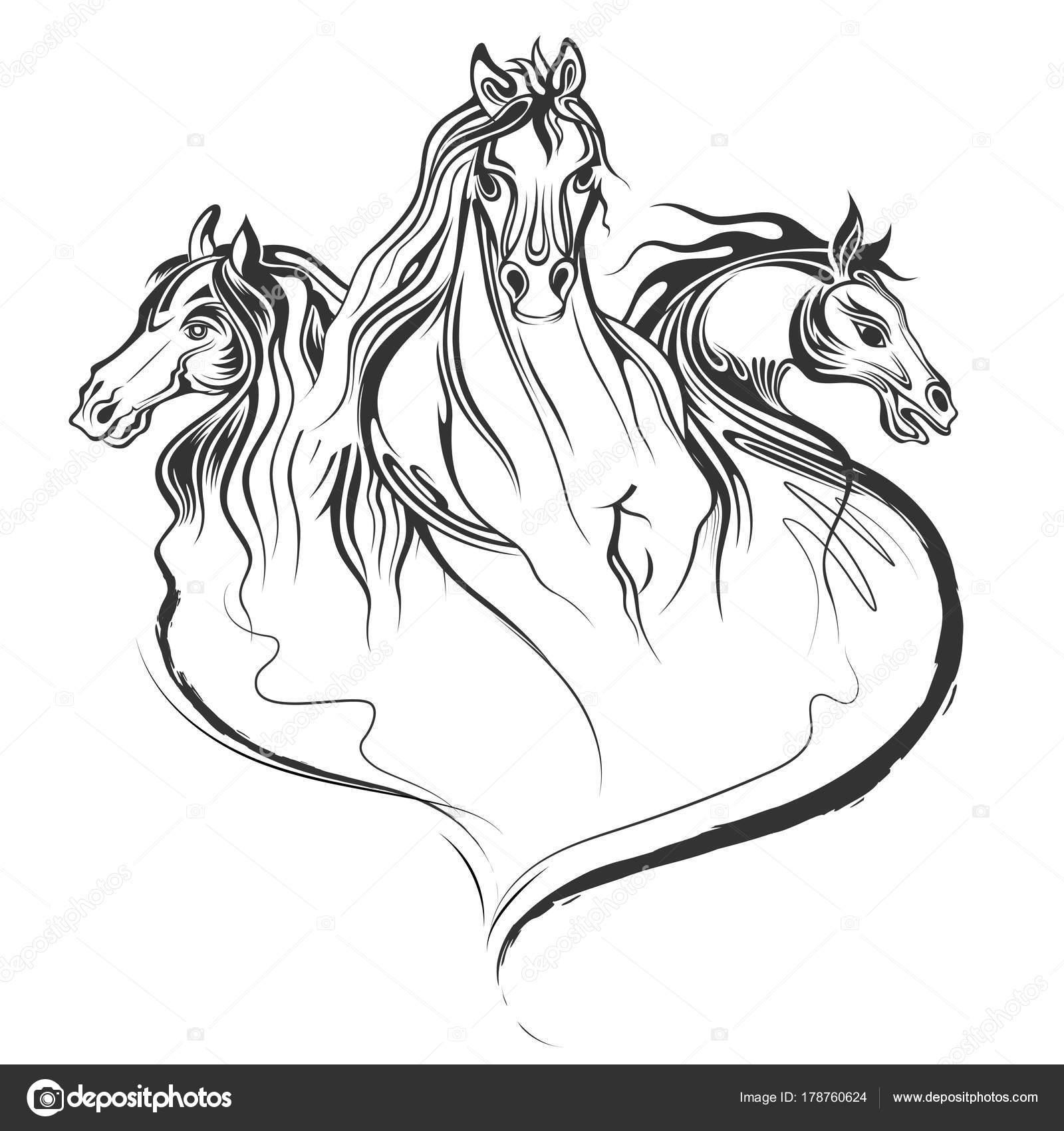 Horse Silhouette Tattoo Designs Tattoo Art Design Of Horse Racing In Line Art Stock Vector C Vectomart 178760624