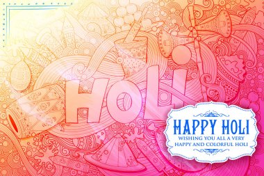 Illustration of colorful Happy Holi Doodle Background for Festival of Colors celebration greetings stock vector