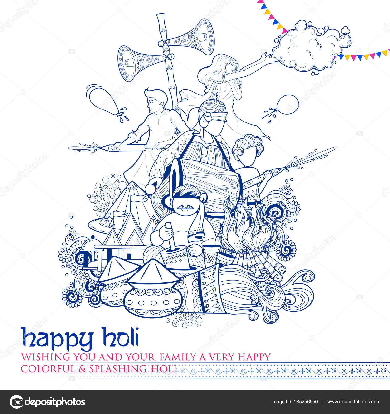 Happy Holi Doodle fondo para saludos de celebración del Festival de ...