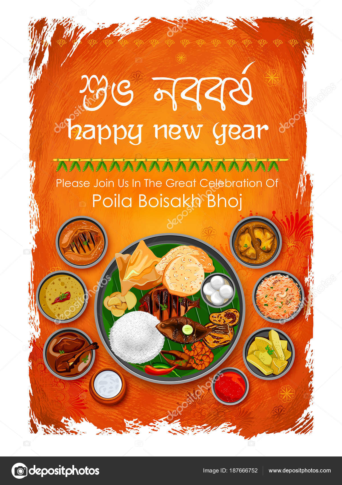 Greeting background with bengali text subho nababarsha priti o illustration of greeting background with bengali text subho nababarsha priti o subhecha meaning love and wishes for happy new year vector by vectomart m4hsunfo
