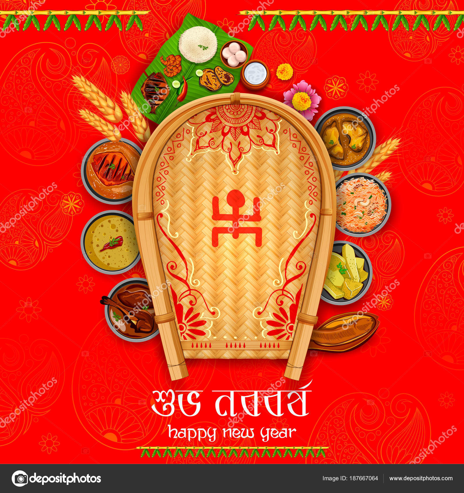 Greeting background with bengali text subho nababarsho meaning happy greeting background with bengali text subho nababarsho meaning happy new year stock vector stopboris Choice Image