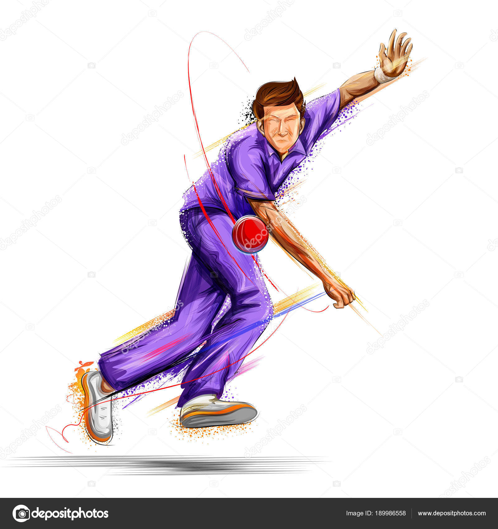 bowler bowling in cricket championship sports � stock