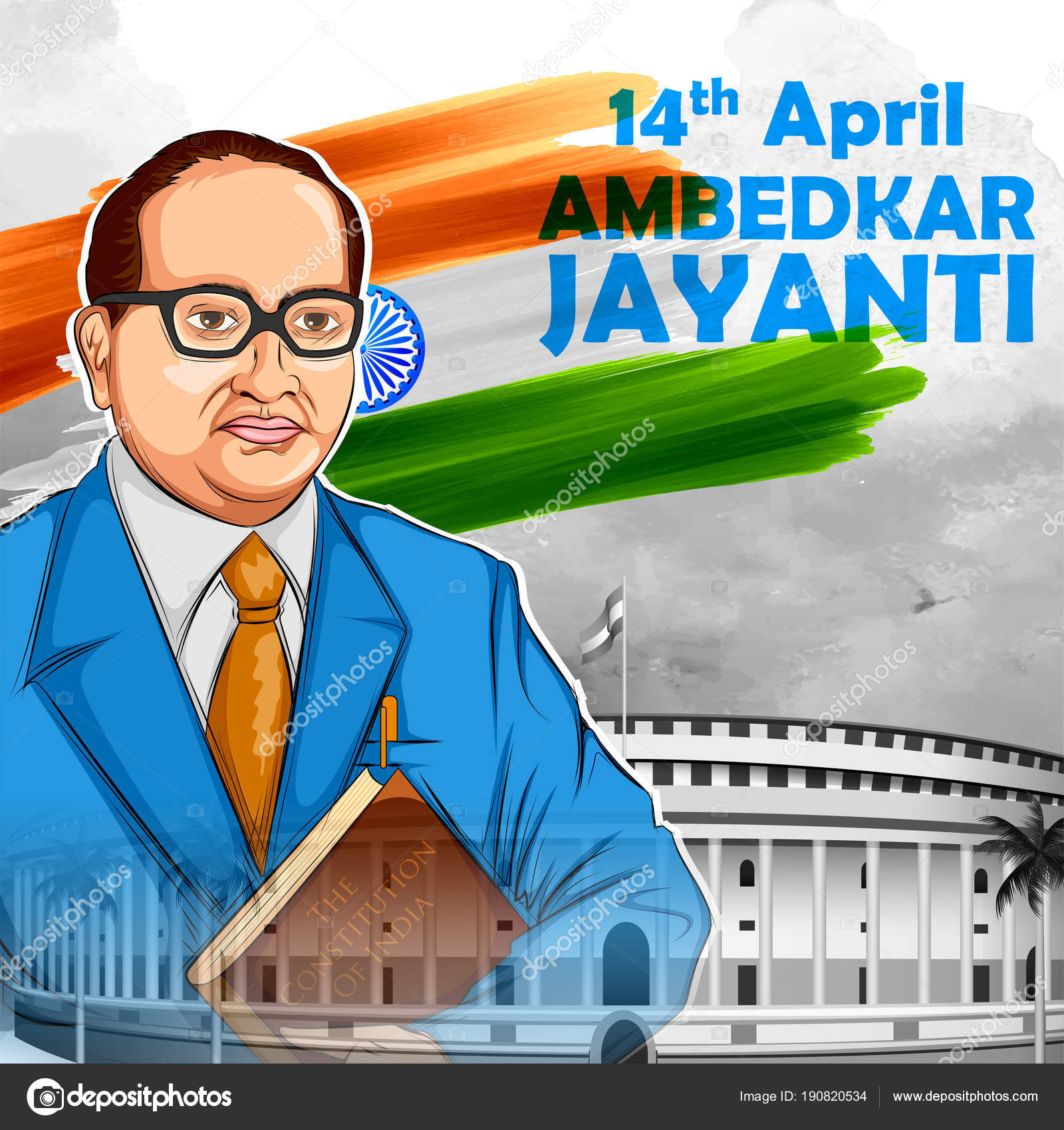 Dr Bhimrao Ramji Ambedkar With Constitution Of India For Ambedkar