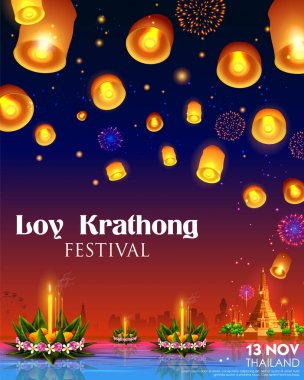 Loy Krathong Siamese festival of Lights traditional celebration of Thailand