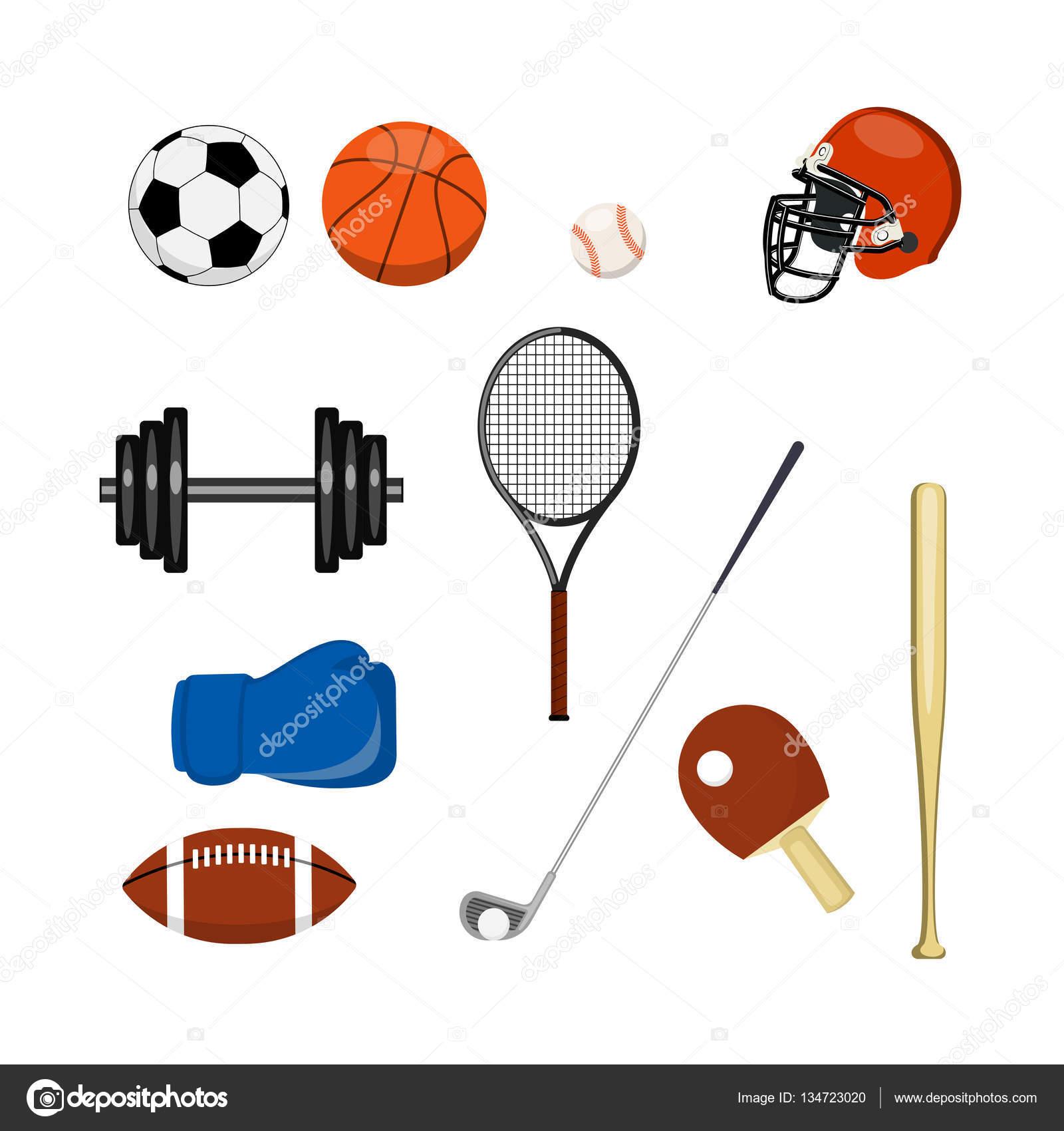 En la imagen que presentó el equipo de deportes de diferentes tipos de  deporte un conjunto de un icono - imágenes  material deportivo — Vector de  matc ... cb416ae5ac3e7