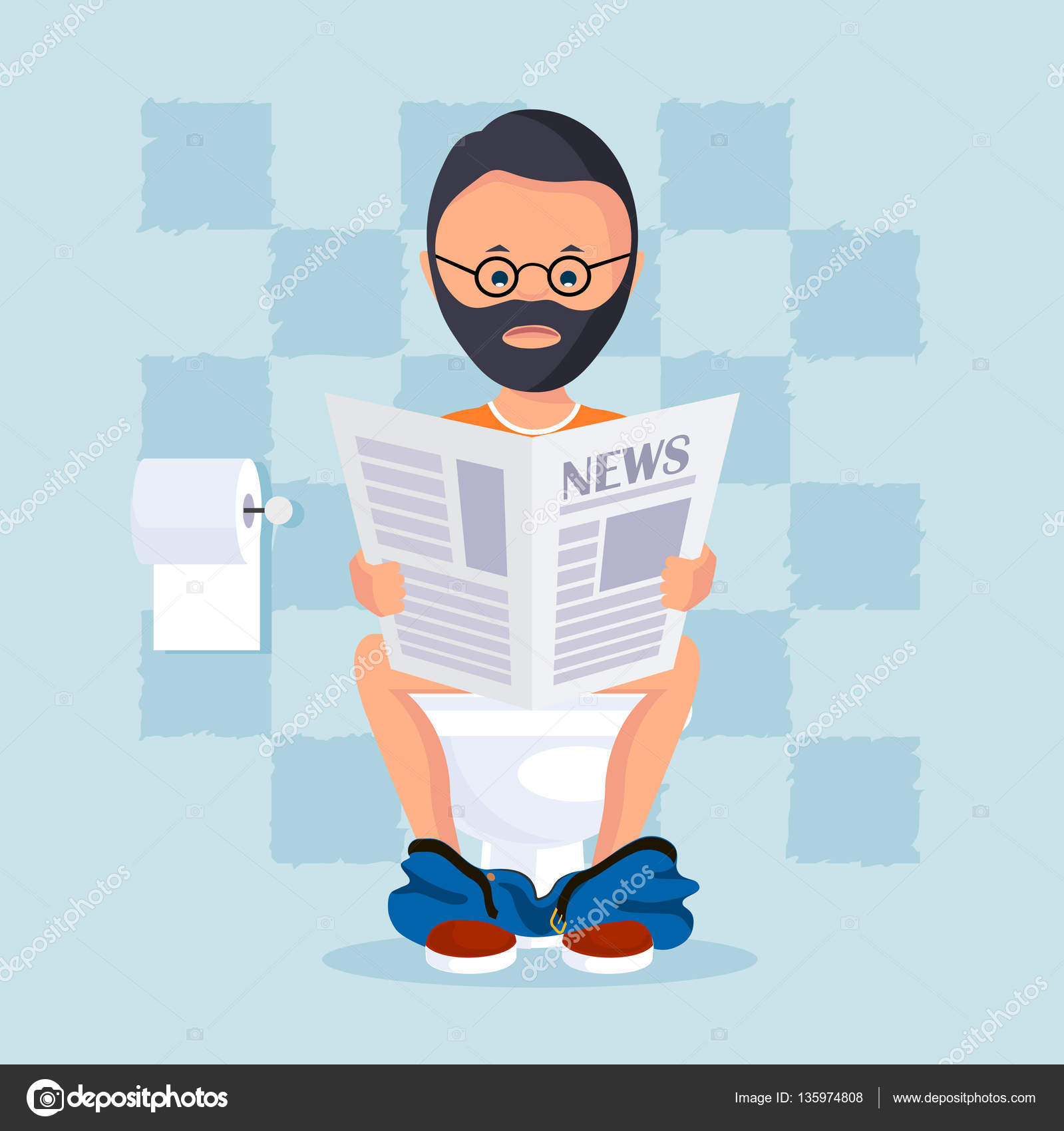 personne dans la salle de toilette assis sur une cuvette de toilette lit un journal du matin. Black Bedroom Furniture Sets. Home Design Ideas