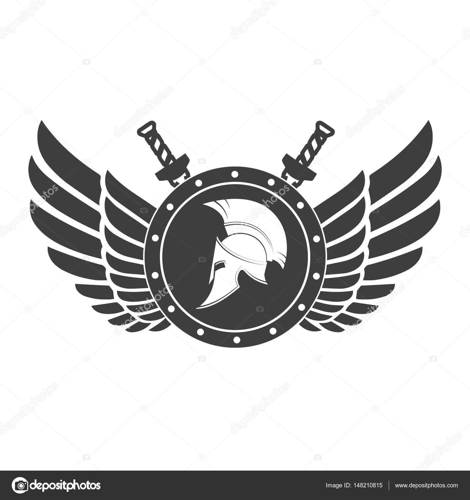 Military Symbol A Spartan Helmet On A Board With Among Wings