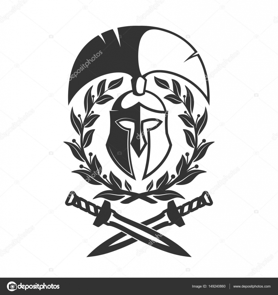 Military Symbol Spartan Helmet In Laurel Wreath Stock Vector
