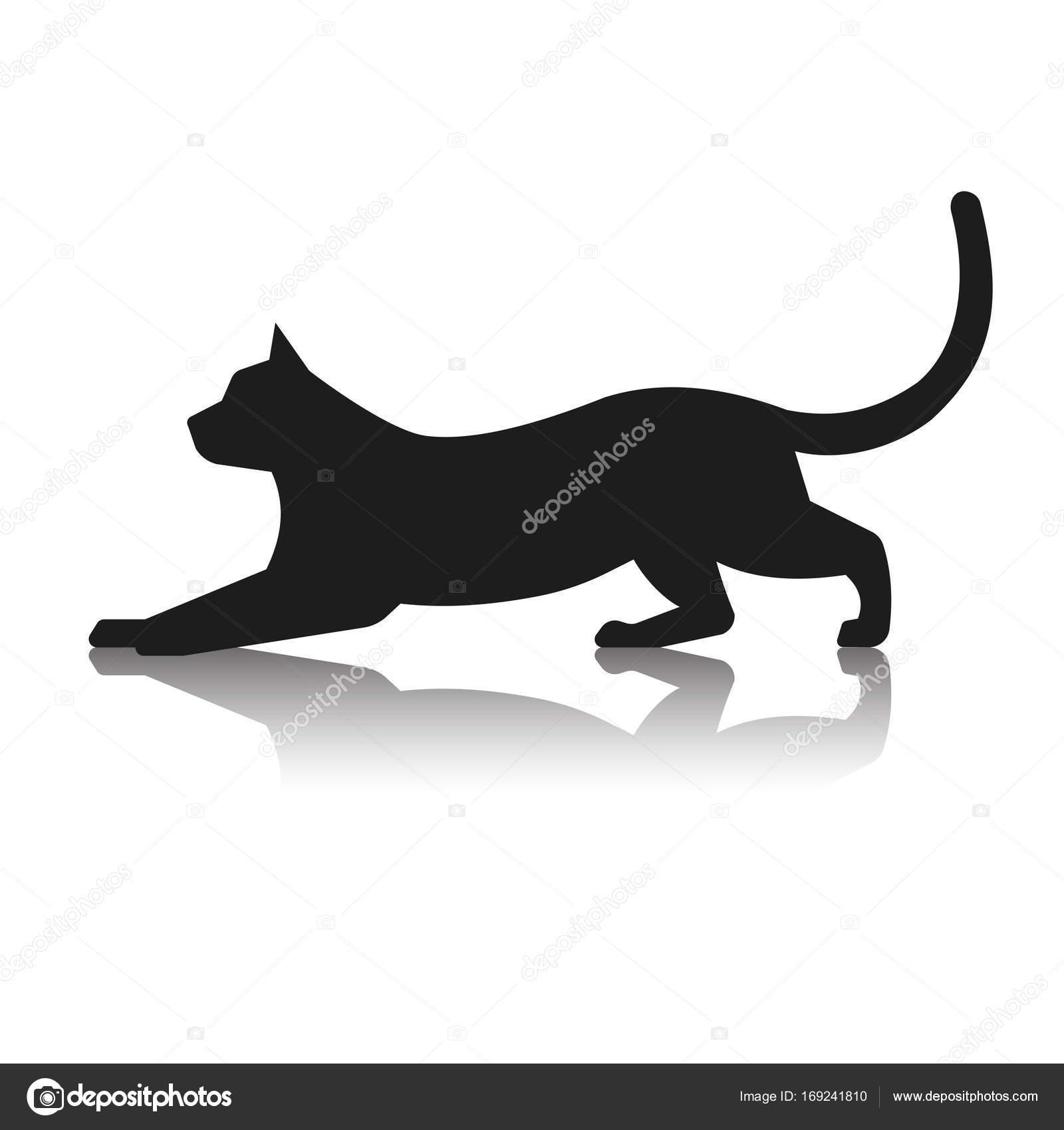 Silueta De Un Gato Jugando Archivo Imágenes Vectoriales Matc