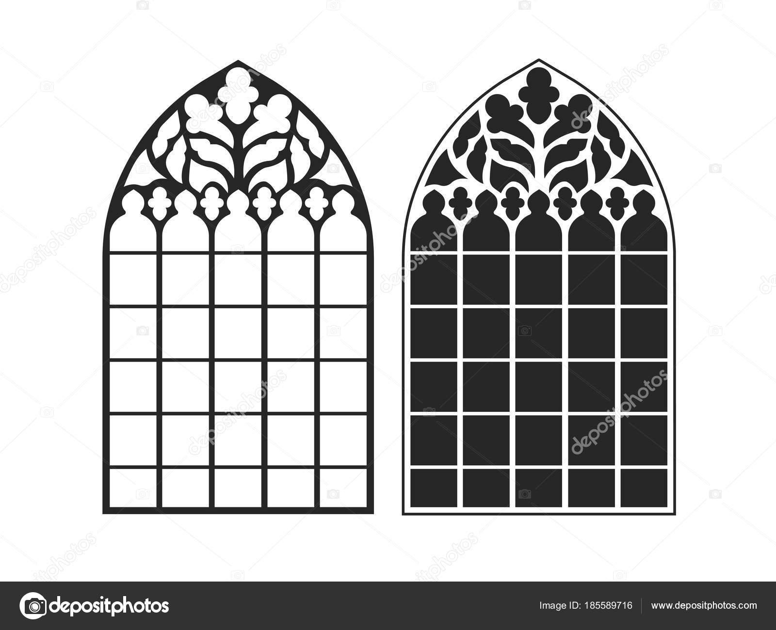 Finestre gotiche cornici d 39 epoca vetrate di chiesa vettoriali stock matc 185589716 - Finestre d epoca ...