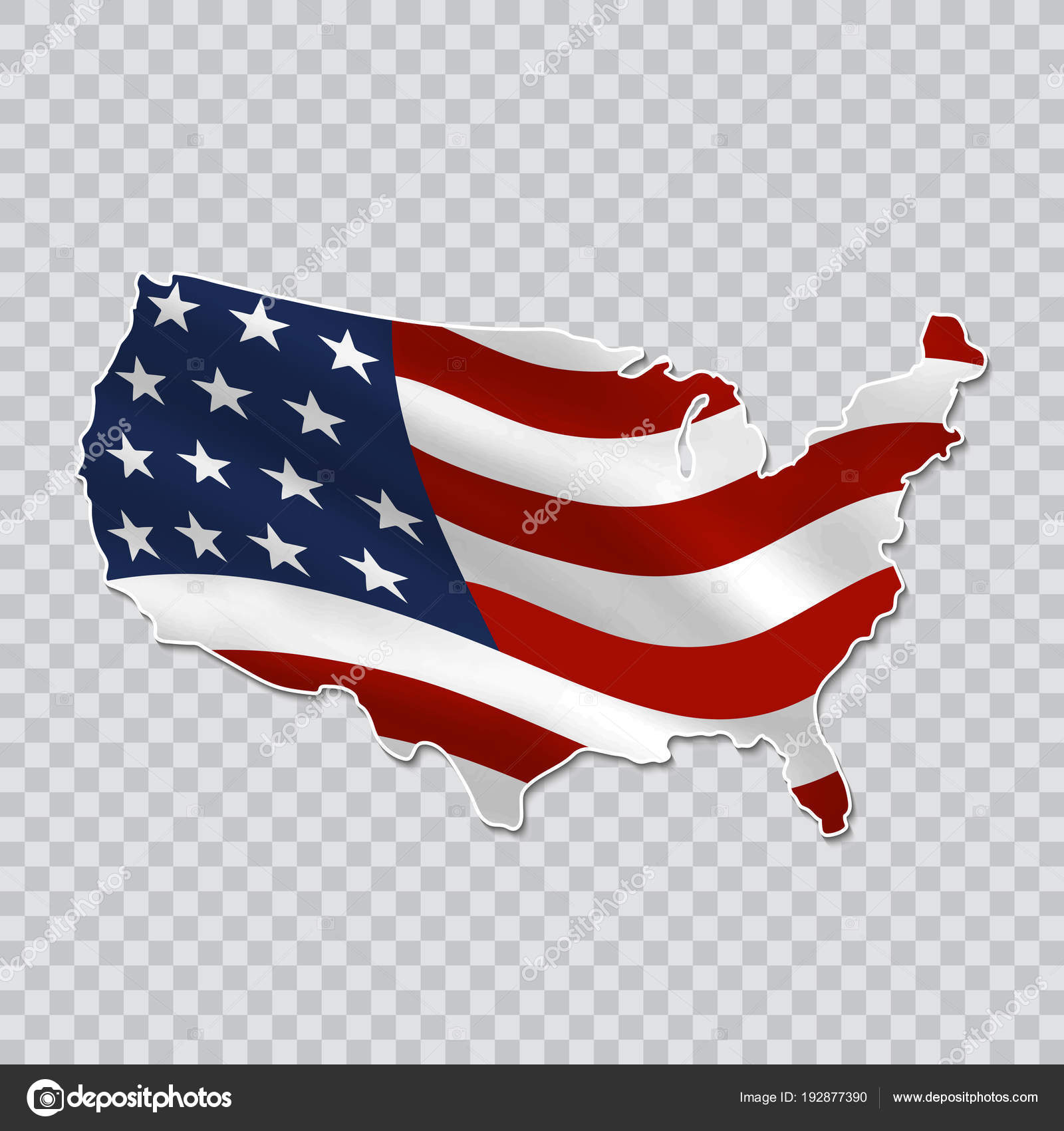 map of the united states with a national flag on a transparent background stock