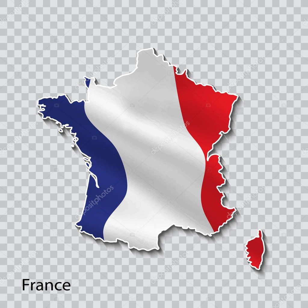 Carte de France avec un drapeau national sur fond transparent. — Image vectorielle matc © #192877392