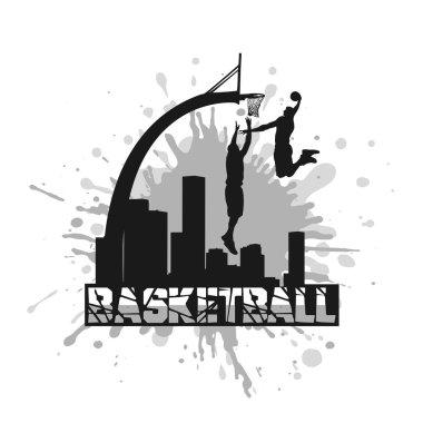 basketball players on grunge background