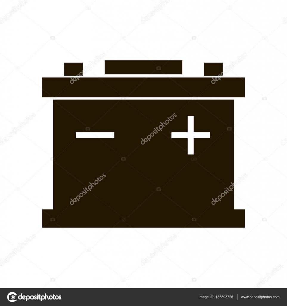 Auto-Batterie-Symbol isoliert auf weißem Hintergrund. Akku Batterie ...