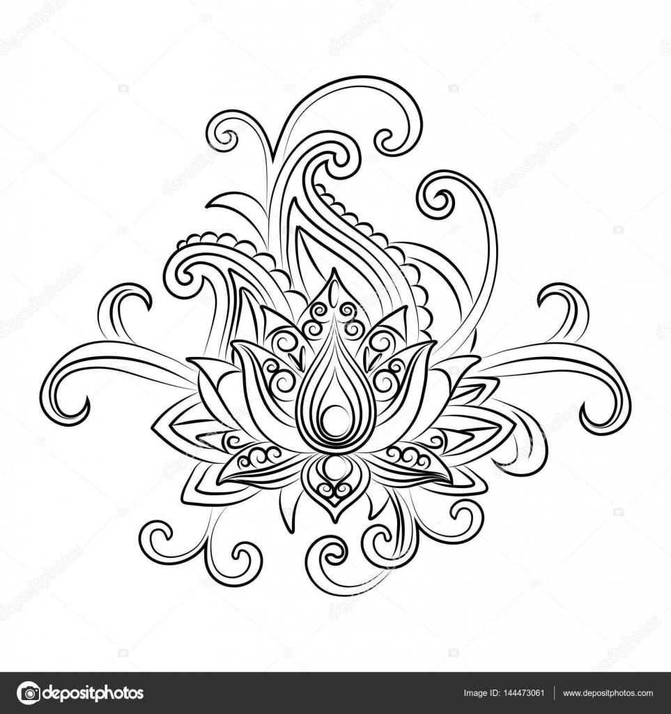 Dibujos Ornamentales Flores Dibujo De Una Flor De Loto Sobre Un