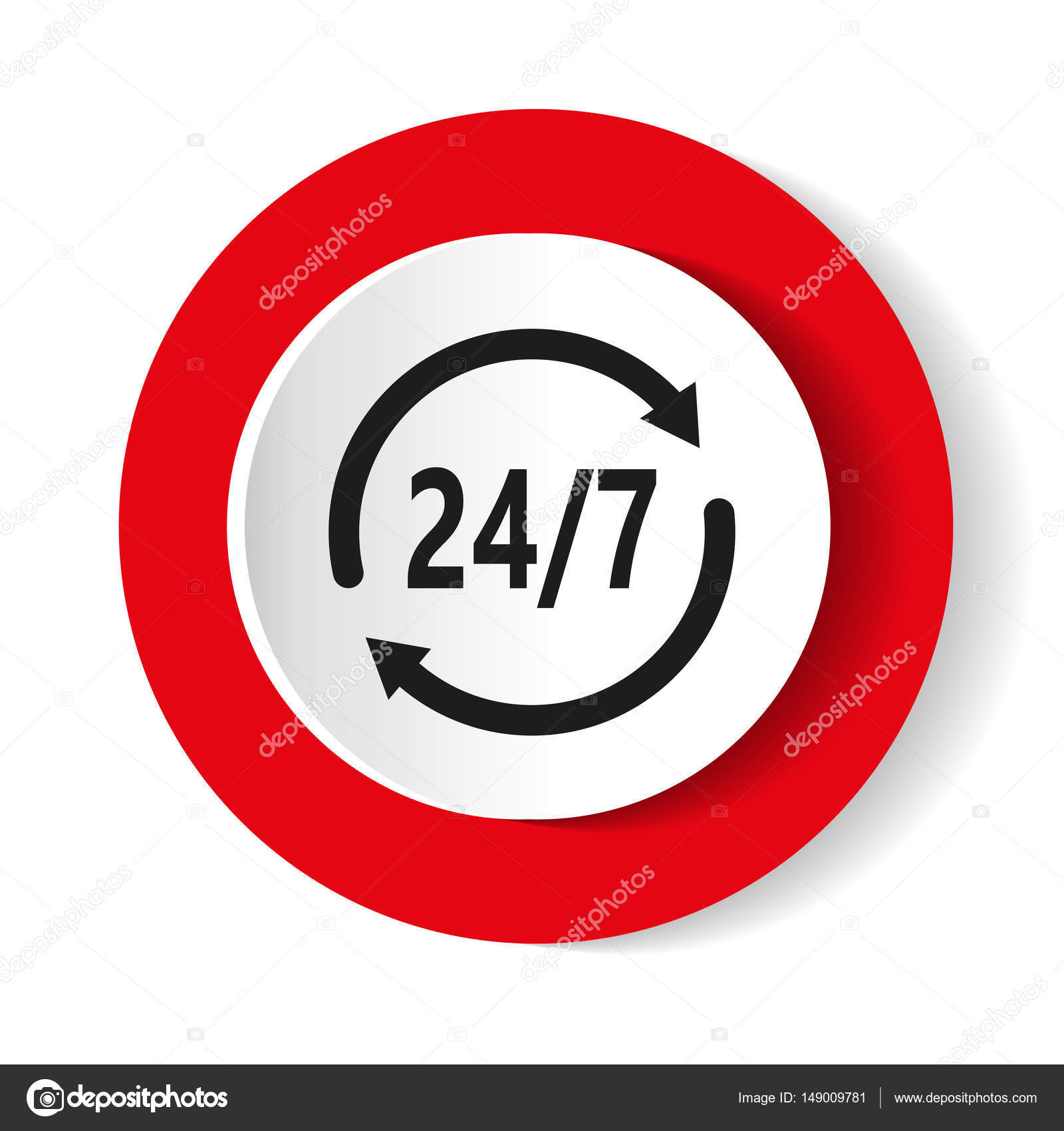 Well-liked Open 24 hours vector icon. Non stop working shop or service symbol  NF51